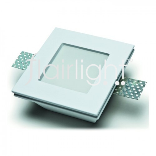 Flairlight IP20 Square Plaster Recessed Fixed Down Light with Diffuser